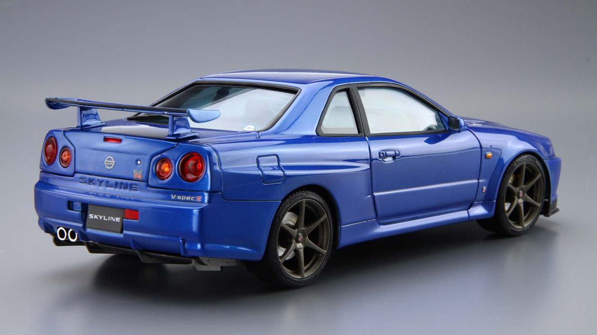 1 24 scale nissan skyline r34 gt r v spec 2 model kit kent models. Black Bedroom Furniture Sets. Home Design Ideas