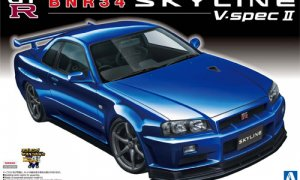 1:24 Scale Aoshima Nissan Skyline R34 GTR BNR34 V-Spec 2 Model Kit #08p