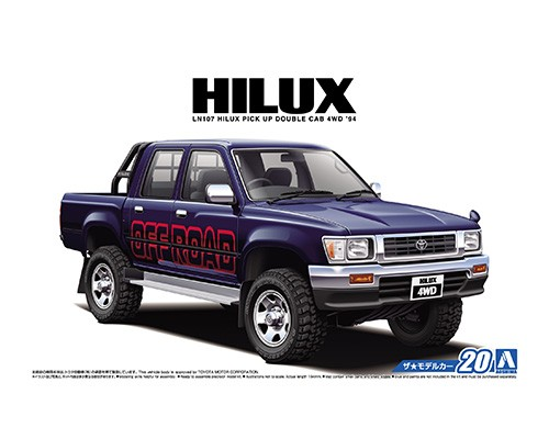 1:24 Scale Aoshima Toyota Hilux Pick Up Double Cab LN103 4WD 1994 Model Kit #20p