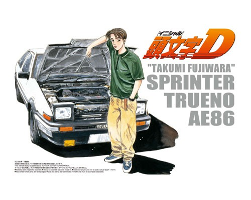 1:24 Scale Initial D Takumi Fujiwara Toyota AE86 Sprinter Trueno Comics VOL.1 Model Kit #418