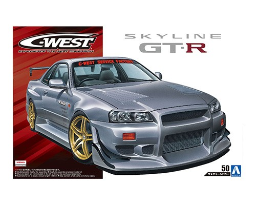 1:24 Scale Nissan Skyline R34 GTR C-WEST BNR34 Model Kit #174