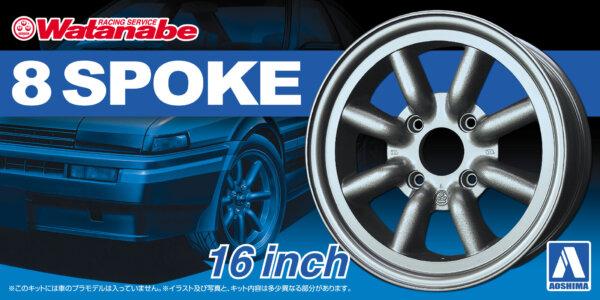 1:24 Scale Watanabe 8 Spoke 16 Inch Wheels & Tyres Set #212