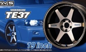 1:24 Scale Aoshima Volk Racing TE37 19inch Wheels & Tyre Set #260