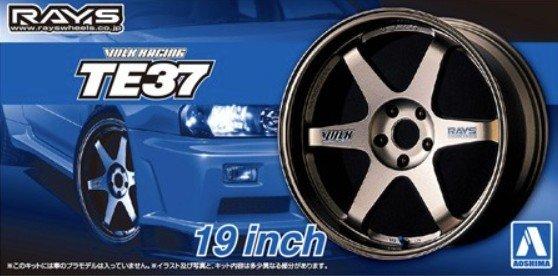 1:24 Scale Aoshima Volk Racing TE37 19inch Wheels & Tyre Set #260