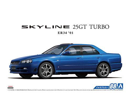 1:24 Scale Aoshima Nissan Skyline R34 ER34 25GT GTT Model Kit #87p