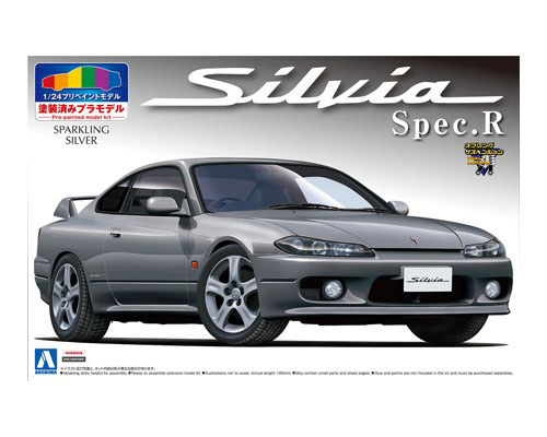 1:24 Scale Aoshima PRE PAINTED Nissan Silvia SPEC R (Sparkling Silver) Model Kit #191p