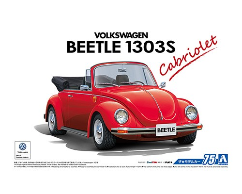 1:24 Scale Aoshima VW Volkswagen Beetle 1303S Super Beetle Cabriolet Convertible Model Kit #74p