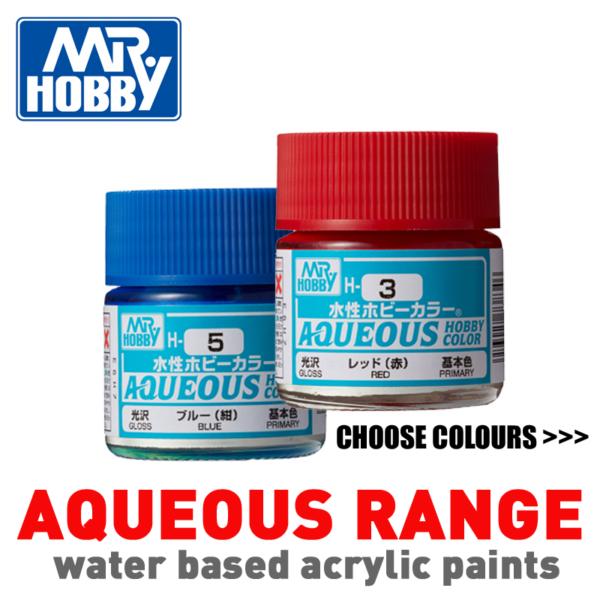 Mr Hobby AQUEOUS Range Paint Pots 10ml - Choose Colours