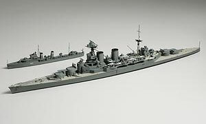 1:700 Scale British Battle Cruiser Hood & E Class Destroyer Ship Model Kit  #1428