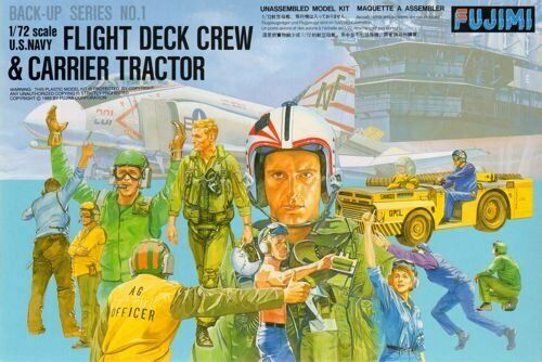 1:72 Scale Fujimi US Navy Fight Deck Crew & MD-3 Tractor Model Kit  #1305