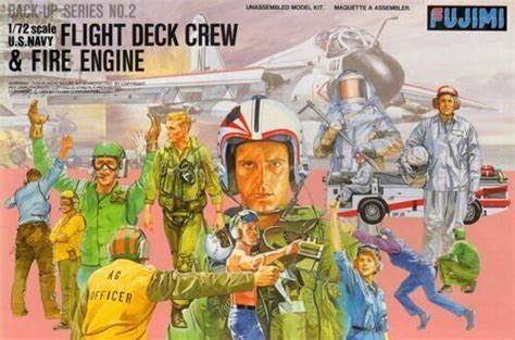 1:72 Scale Fujimi US Navy Fight Deck Crews & Fire Engine Model Kit  #1307