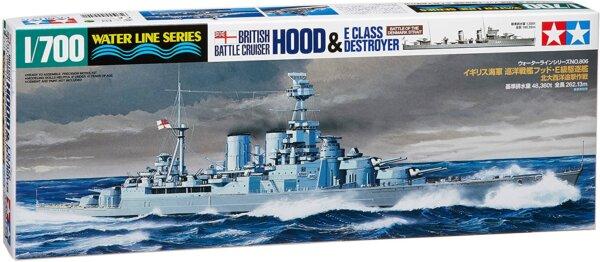 1:700 Scale Tamiya British Battle Cruiser Hood & E Class Destroyer Ship Model Kit  #1428