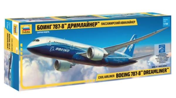 1:144 Scale Zvezda Boeing 787 Dreamliner Plane Model Kit  #1413