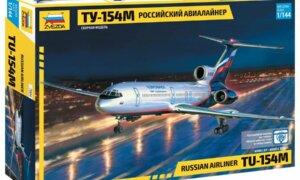1:144 Scale Zvezda TU-154M Russian Airliner Plane Model Kit  #1412