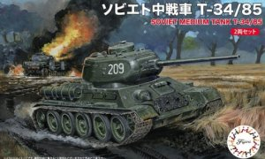 1:76 Scale Fujimi Soviet T-34/85 Set of 2 Tank Model Kit  #
