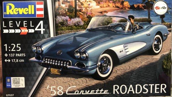 1:25 Scale Revell Corvette 1958 Roadster Model Car Kit #1545