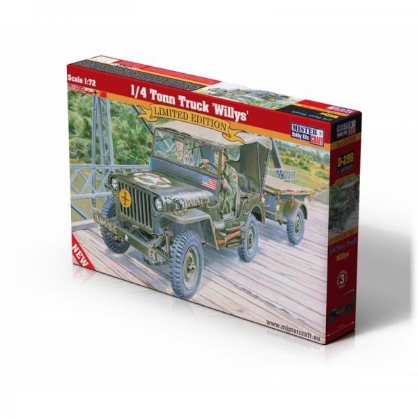 1:72 Scale Mister Hobby Kit Willts Jeep & Trailer Model Kit #1565