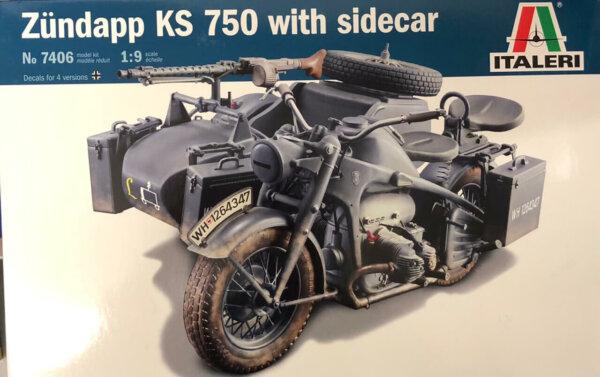 1:9 Scale Italeri Zundapp KS 750 With Sidecar #