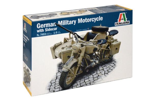 1:9 Scale Italeri Military BMW R75 Bike & Sidecar Model Kit #
