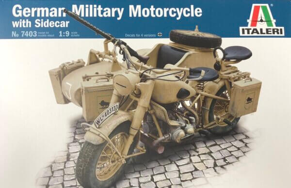 1:9 Scale Italeri Military BMW R75 Bike & Sidecar Model Kit #