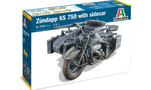 1:9 Scale Italeri Military Zundapp KS 750 Motorbike With Sidecar Model Kit #1681