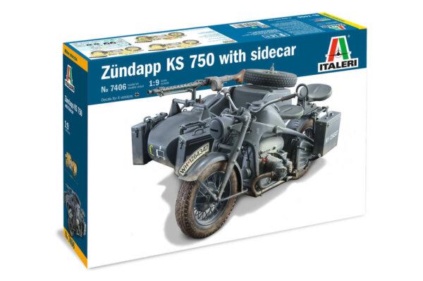 1:9 Scale Italeri Military Zundapp KS 750 Motorbike With Sidecar Model Kit #1681