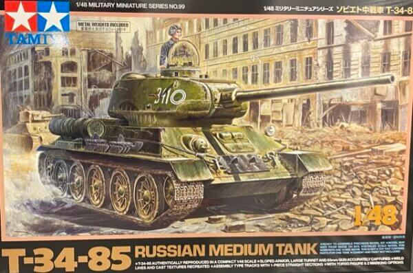 1:48 Scale Tamiya T-34-85 Russian Medium Tank Model Kit #1686