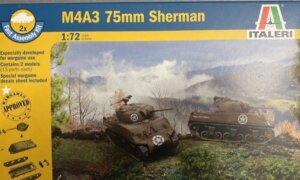 1:72 Scale Italeri M4A3 75mm Sherman Tank Model Kit #1685