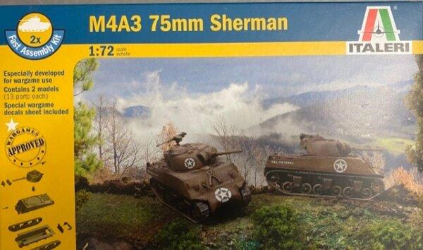 1:72 Scale Italeri M4A3 75mm Sherman Tank Model Kit #1685