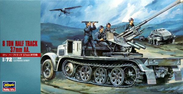 1:72 Scale Hasegawa 8 Ton Half Track 37mm AA Military Vehicle Model Kit