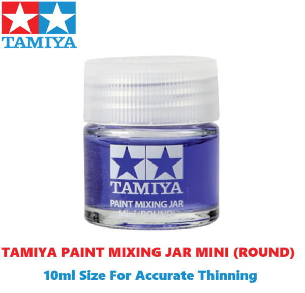 Tamiya Paint Mixing Jar Mini (Round) With Side Measurements For Accurate Thinning 10ml Size