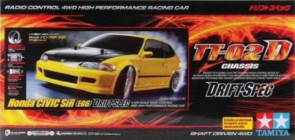 1:10 Scale Tamiya Honda Civic Drift TT-02D Radio Control Model Kit