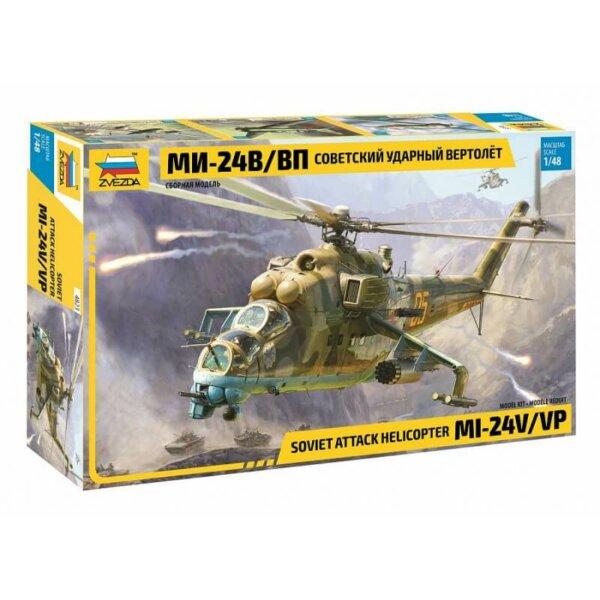 1:48 Scale Zvezda HIND Soviet Attack Helicopter Mi-24V/VP Model Kit