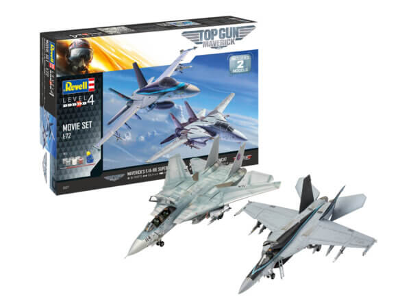 1:72 Scale Revell Top Gun Maverick Two Kit Movie Set With Tools, Glues & Paint